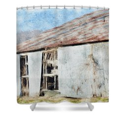 Old Metel Shed Painted Effect Shower Curtain by Debbie Portwood