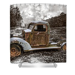 Old Plymouth Shower Curtain by Debra and Dave Vanderlaan