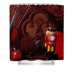 Old Raido And Christmas Nutcracker Shower Curtain by Garry Gay