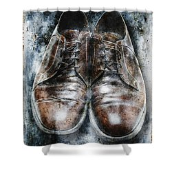 Old Shoes Frozen In Ice Shower Curtain by Skip Nall