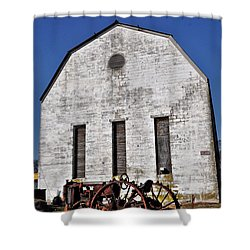 Old Tractor In Front Of Hay Barn Shower Curtain by Bill Cannon