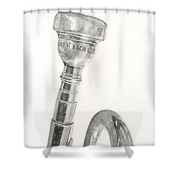 Old Trumpet Shower Curtain by Sarah Batalka