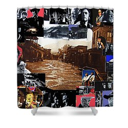 Old Tucson Arizona Composite Of Artists Performing There 1967-2012 Shower Curtain by David Lee Guss