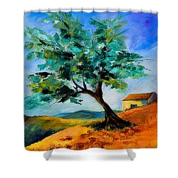 Olive Tree On The Hill Shower Curtain by Elise Palmigiani