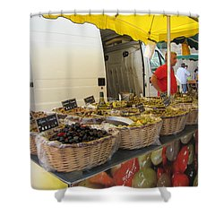 Olives For Sale Shower Curtain by Pema Hou