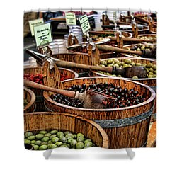 Olives Shower Curtain by Heather Applegate