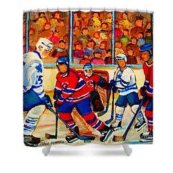 Olympic  Hockey Hopefuls  Painting By Montreal Hockey Artist Carole Spandau Shower Curtain by Carole Spandau