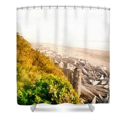 Olympic Peninsula Driftwood Shower Curtain by Michelle Calkins