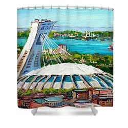 Olympic Stadium Montreal Painting Velodrome Biodome Heritage Art By City Scene Artist Carole Spandau Shower Curtain by Carole Spandau