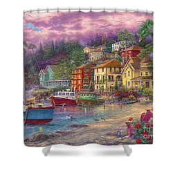 On Golden Shores Shower Curtain by Chuck Pinson