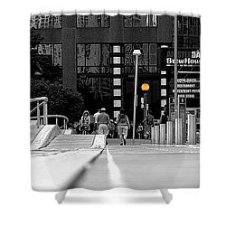 On The Boardwalk Shower Curtain by Valentino Visentini