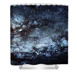 On The Galaxy Edge Shower Curtain by The  Vault - Jennifer Rondinelli Reilly