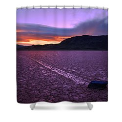 On The Playa Shower Curtain by Chad Dutson