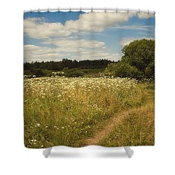 On The Summer Meadow II. Russia Shower Curtain by Jenny Rainbow