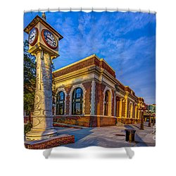On Time Train Shower Curtain by Marvin Spates