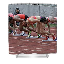 On Your Marks Shower Curtain by Shoal Hollingsworth