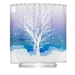 Once Upon A Moon Lit Night... Shower Curtain by Holly Kempe