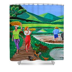 One Beautiful Morning In The Farm Shower Curtain by Cyril Maza