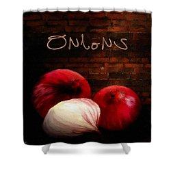 Onions II Shower Curtain by Lourry Legarde