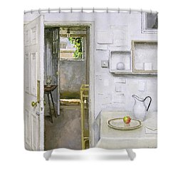 Open Doors With Still Life And Letter Shower Curtain by Charles E Hardaker