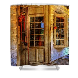 Open For Business Shower Curtain by Lois Bryan