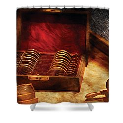 Optician - A Box Of Occulars  Shower Curtain by Mike Savad