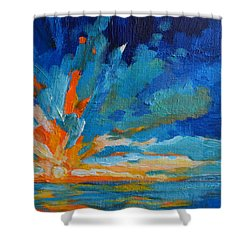 Orange Blue Sunset Landscape Shower Curtain by Patricia Awapara