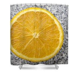 Orange Cut In Half Grey Background Shower Curtain by Matthias Hauser