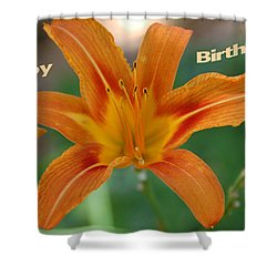 Orange Lily Birthday 1 Shower Curtain by Aimee L Maher Photography and Art Visit ALMGallerydotcom