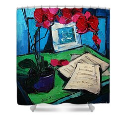 Orchid And Piano Sheets Shower Curtain by Mona Edulesco
