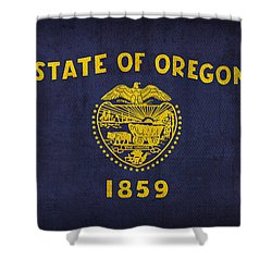 Oregon State Flag Art On Worn Canvas Shower Curtain by Design Turnpike