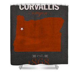 Oregon State University Beavers Corvallis College Town State Map Poster Series No 087 Shower Curtain by Design Turnpike
