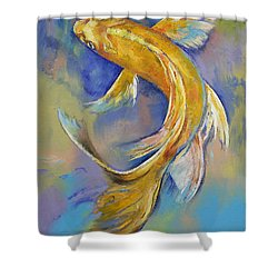 Orenji Butterfly Koi Shower Curtain by Michael Creese