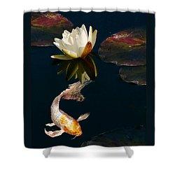 Oriental Koi Fish And Water Lily Flower Shower Curtain by Jennie Marie Schell