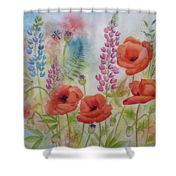 Oriental Poppies Meadow Shower Curtain by Carla Parris