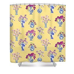 Oriental Vases With Orchids Shower Curtain by Kimberly McSparran