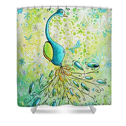Original Acrylic Bird Floral Painting Peacock Glory By Megan Duncanson Shower Curtain by Megan Duncanson