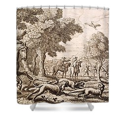 Otter Hunting By A River, Engraved Shower Curtain by Francis Barlow