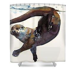 Otter Study II  Shower Curtain by Mark Adlington