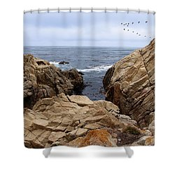 Overcast Day At Pebble Beach Shower Curtain by Glenn McCarthy Art and Photography