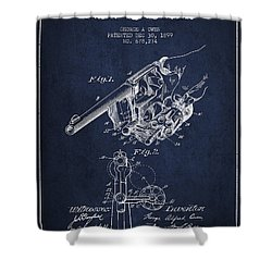 Owen Revolver Patent Drawing From 1899- Navy Blue Shower Curtain by Aged Pixel