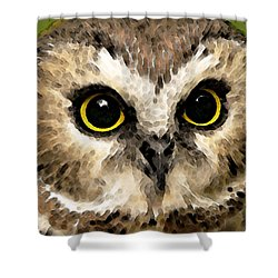 Owl Art - Night Vision Shower Curtain by Sharon Cummings