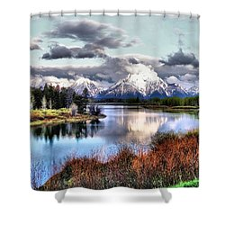 Oxbow Bend Shower Curtain by Dan Sproul