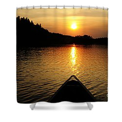 Paddling Off Into The Sunset Shower Curtain by Larry Ricker