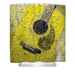 Painted Guitar - Music - Yellow Shower Curtain by Barbara Griffin
