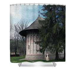 Painted Monastery Shower Curtain by Jeff Kolker