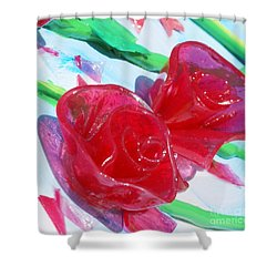 Painterly Stained Glass Looking Flowers Shower Curtain by Ruth Collis