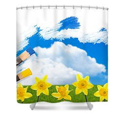 Painting Daffodils Shower Curtain by Amanda And Christopher Elwell