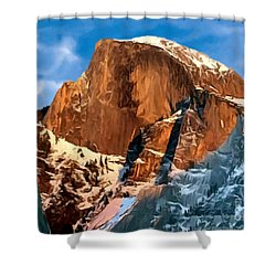 Painting Half Dome Yosemite N P Shower Curtain by Bob and Nadine Johnston
