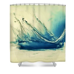 Painting Of Fresh Water Splash Shower Curtain by Michal Bednarek